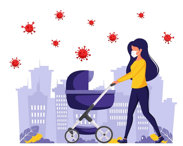 Woman walking with baby carriage during pandemic. woman in face mask. outdoor activities during pandemic.  in flat style.