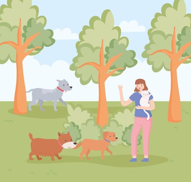 고양이와 산책하는 여자