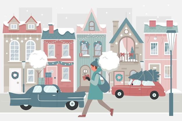 雪の通りのイラストでクリスマスプレゼントを持って歩く女性。