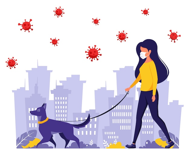 Woman walking with dog during pandemic. woman in face mask. pandemic, quarantine rules. outdoor activities.  in flat style.