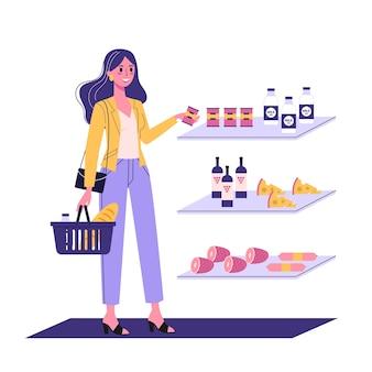 Женщина, идущая с корзиной для покупок в супермаркете. персонаж покупает еду в магазине.