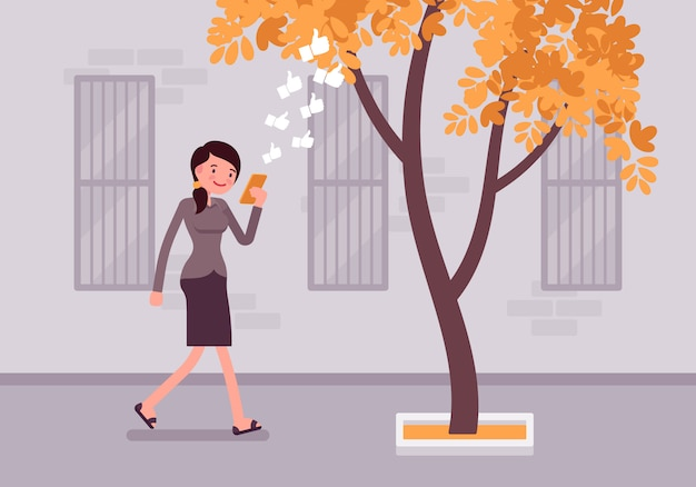 Woman walks with smartphone to bump into a tree