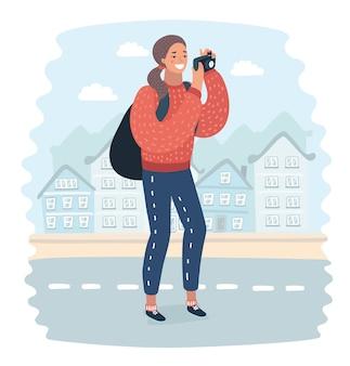 屋上ビルに立っている女性放浪者がニューヨーク大都市の携帯電話のカメラで写真を撮っている。中国旅行中に携帯電話で景色のビデオを撮影しているヒップスターの女の子