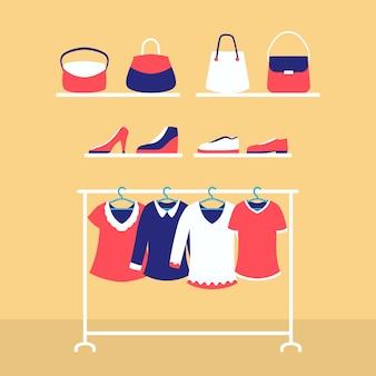 女性のワードローブのファッションは、服のバッグと靴のスタイルを設定