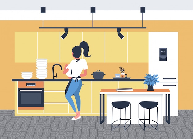 Woman washing dishes housewife doing housework dishwashing cleaning concept modern kitchen interior rear view full length sketch horizontal
