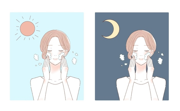 朝と夜に顔を洗う女性。白い背景に。