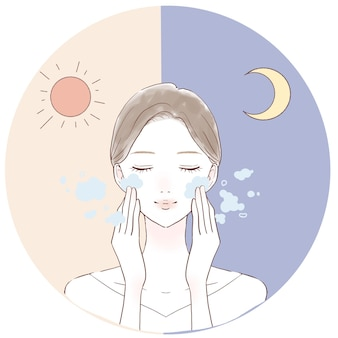 Woman washing face in morning and night. on a white background.