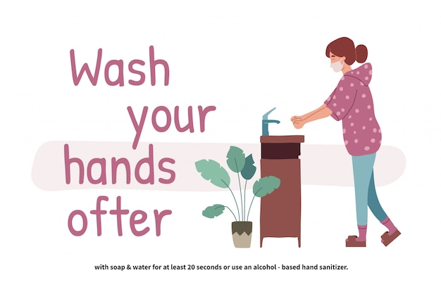 Woman washing hands. perspective young girl standing at the wash basin. clean hands. daily personal care. covid-19 prevention.  illustration in flat cartoon style.