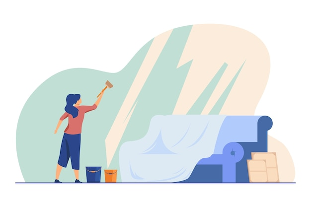 Woman washing panoramic window. house, sofa, bucket flat vector illustration. housekeeping and cleaning service