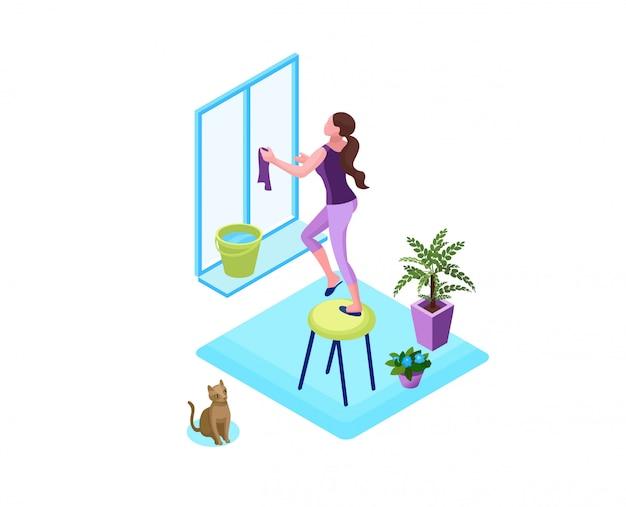 Женщина стиральная окно с тряпкой, очистить дом концепции