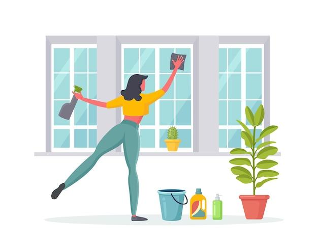 ぼろきれイラストで窓を洗う女性