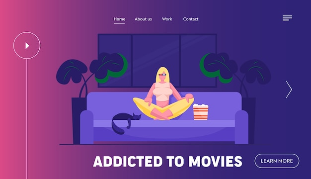 Woman watching movie and relaxing at home website landing page
