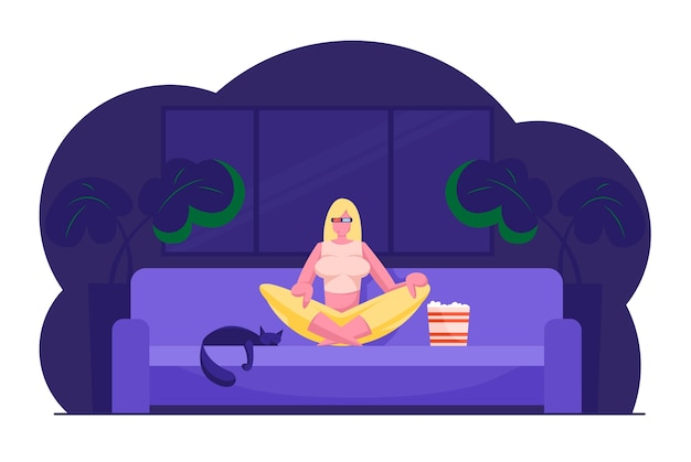 Woman watching movie and relaxing at home