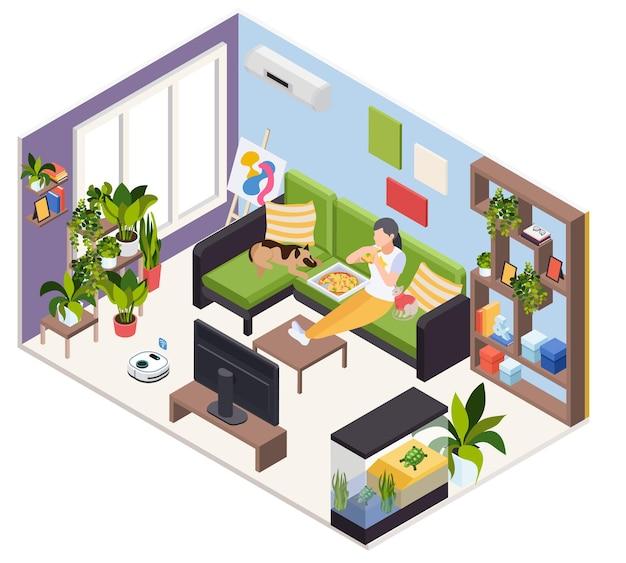 Donna che guarda la tv con animali e mangia pizza sul divano