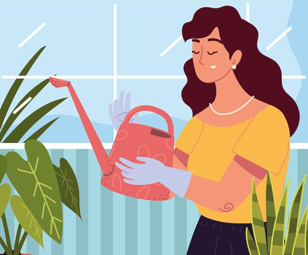 Woman and watering can