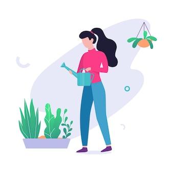 냄비에 꽃을 급수하는 여자. 원예 및 취미에 대한 아이디어. 여성 캐릭터와 녹색 식물. 삽화