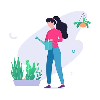 Woman watering flower in the pot. idea of gardening and hobby. female character and green plant.   illustration