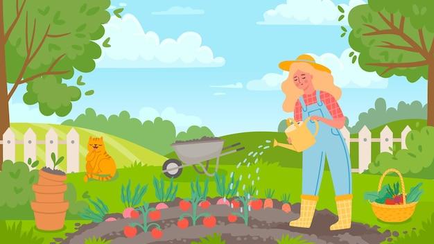 정원에 물을 주는 여자. 여성 정원사는 일하고, 농사를 짓고, 야채를 재배하고, 토마토에 물을 줍니다. 농업 풍경과 농부 벡터 개념입니다. 바구니 가득 신선한 야채와 모자에 소녀