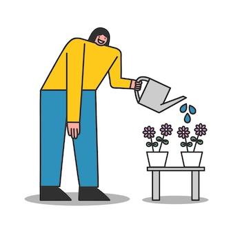 観葉植物に水をまく女性。孤立したキャラクター