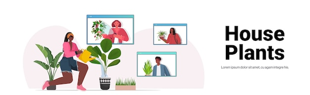 Woman watering houseplants african american housewife discussing with friends in web browser windows during video call copy space
