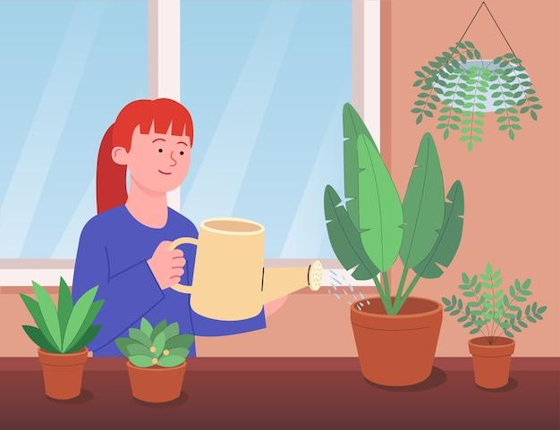 観葉植物に水をまく女性フラットイラスト