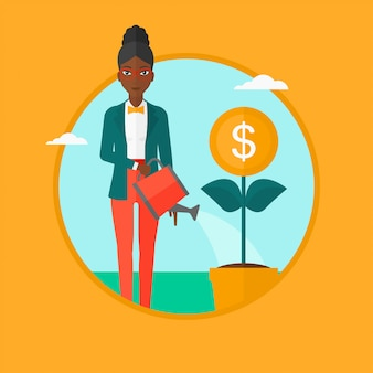 Woman watering money flower vector illustration.