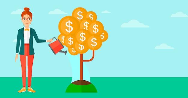 Woman watering money tree.
