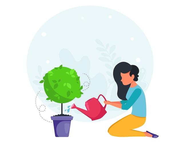 女性の植物に水をまきます。ハウスクリーニングのコンセプト。主婦が家を掃除します。