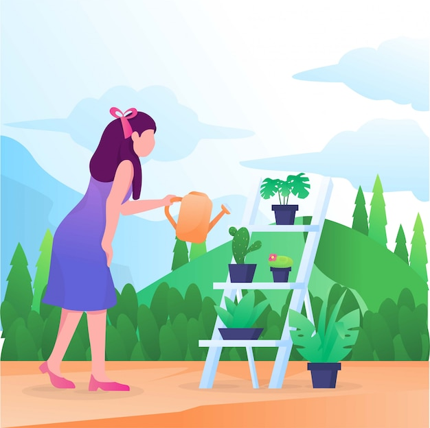 Woman watering plants in a garden illustration
