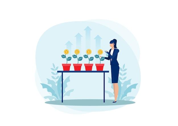 成長している木に水をまく女性は、米ドル、ユーロ、ウクライナ人に投資します