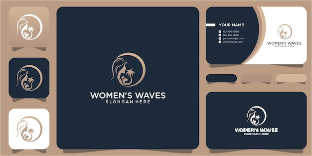 Woman and waves logo design