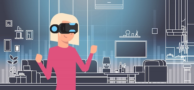 Woman wearing 3d glasses in vr room interior virtual reality technology concept