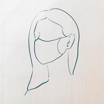コロナウイルスのパンデミックキャラクターを防ぐためにフェイスマスクを着用している女性