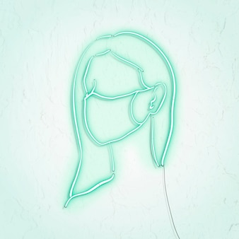 コロナウイルスパンデミックネオンのキャラクターを防ぐためにフェイスマスクを着用している女性