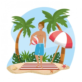 Woman wearing bathing shorts with beach ball and umbrella