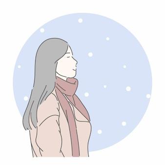 Женщина в ткани в зимний сезон. ручной обращается стиль персонажа.