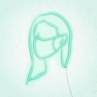 Donna che indossa una maschera facciale per prevenire il personaggio neon pandemico di coronavirus