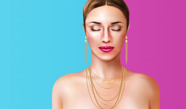 Женщина носить ювелирные аксессуары на синем и розовом фоне реалистичной иллюстрации