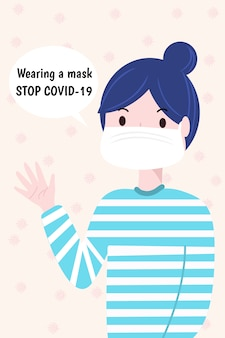 Woman wearing medical mask. protection from coronavirus