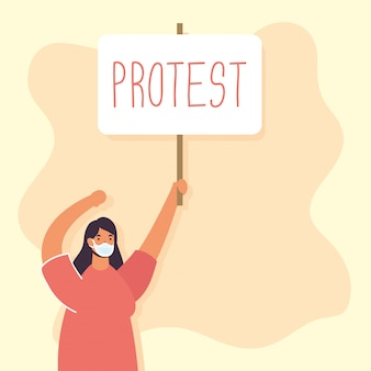 Woman wearing medical mask protesting with placard illustration