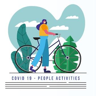 자전거와 텍스트를 타고 의료 마스크를 착용하는 여자