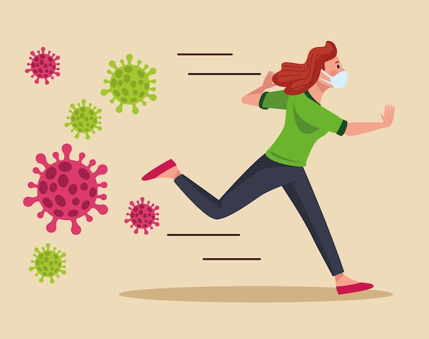 Woman wearing medical mask running with particles  illustration