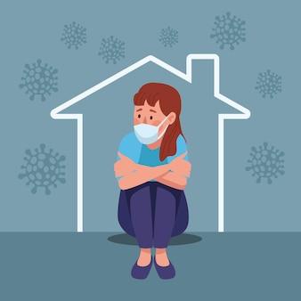 家のイラストで強調された座っている医療マスクを身に着けている女性