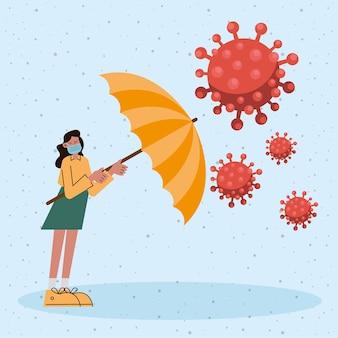 Женщина в медицинской маске с зонтиком и частицами covid19