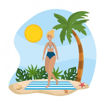Woman wearing swimsuit with palm tree and leaves plants