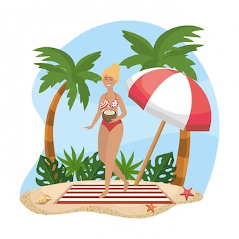 Woman wearing swimsuit with umbrella and towel with palms trees