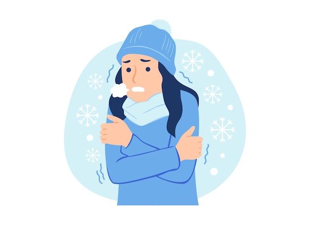 Женщина в зимней одежде замерзает и дрожит от холода на снежной иллюстрации концепции Premium векторы