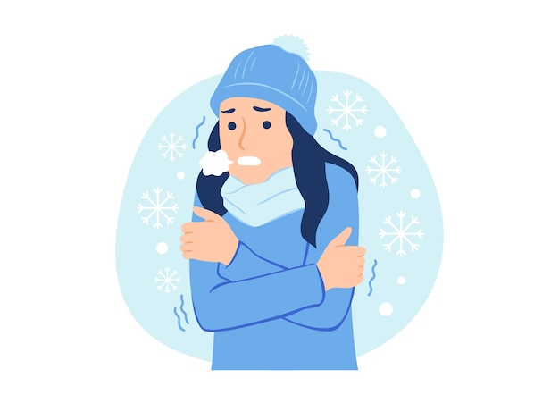 Woman wearing winter cloth freezing and shivering feeling cold in the snow concept illustration