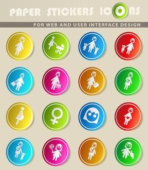 사용자 인터페이스 디자인을 위한 여성 웹 아이콘