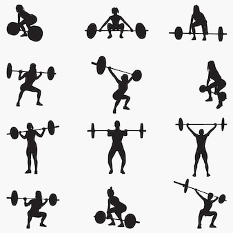 Woman weightlifter silhouettes